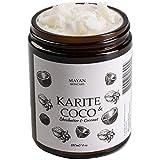 Beurre de Karité Bio et Huile de Coco Bio -180ml - Crème Hydratante Pour Peaux Très Sèches et Déshydratées - Soin Corps, Visage et Cheveux - Texture Fondante,Produit Naturel