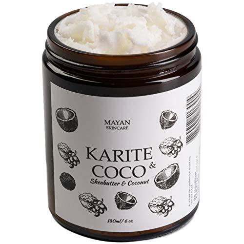 Beurre de Karité Bio et Huile de Coco Bio -180ml - Hydratant Pour Peaux Très Sèches et Déshydratées - Soin Corps, Visage et Cheveux - Texture Fondante,Produit Naturel