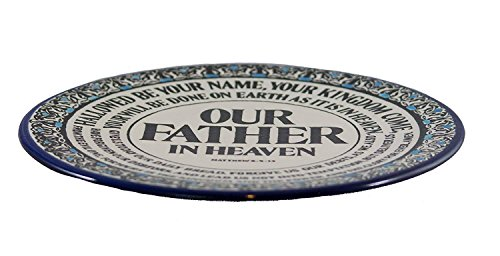 """Lord's Prayer Plate - Handmade and Hand Painted Ceramic Plate Crafted by Hebron Artisans - Matthew 6:9:13 (8.5"""" x 8.5"""" x 0.15)"""