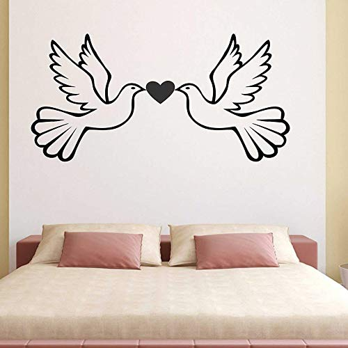HFDHFH Adesivi murali Uccelli Amore Camera da Letto Artista Decorazione della casa cameretta Scuola Materna Decalcomanie per finestre in Vinile Colomba della Pace murale Animale