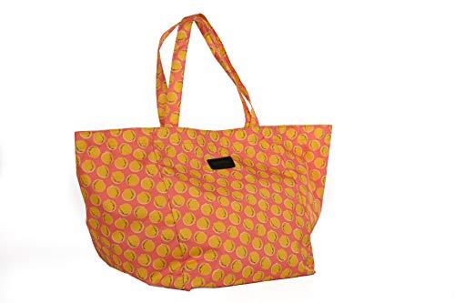 ademore Bolsa de Playa Grande con Estampado Naranjas Amarillas en Tela de Lona