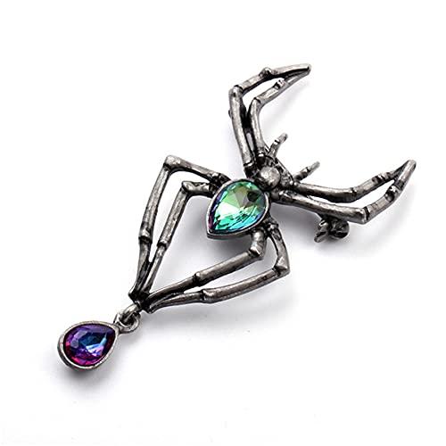 PASDD Damen Spinnen Pin Broschen Halloween Kostüm Zubehör Kristall Strass Spinne Tier Insekt Spinne Brosche Anstecknadel,Schwarz