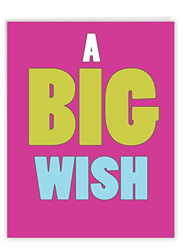 Large All Occasions Blank Greeting Card for Him or Her 'A Big Wish' All-Occasion Card, with Envelope (Large Size Version: 8.5 x 11 Inch) Oversized Congratulations - Any Holiday or Party J1420K