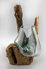 Idea Regalo - Deggelbam - Vaso in vetro soffiato a bocca su radici in vero legno