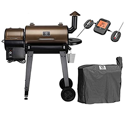 Z GRILLS ZPG-450A Wood Pellet Grill Smoker for Outdoor Cooking with Wireless Meat Probe Thermometer, 2020 Upgrade, 8-in-1 & Pid Controller (Grill+Smart Probe)
