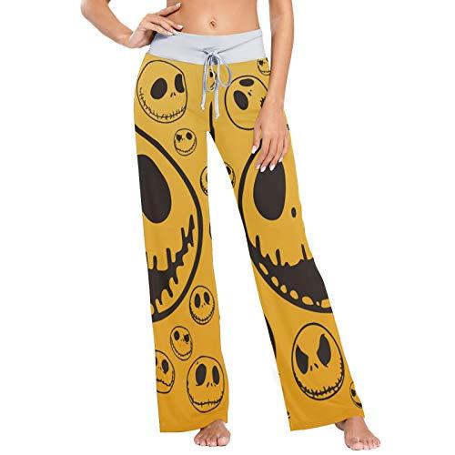 Pantalones de Pijama para Mujer, Pantalones de Yoga, Leggings Inferiores, Pantalones de salón de Cintura Alta, Divertido Jack Skellington