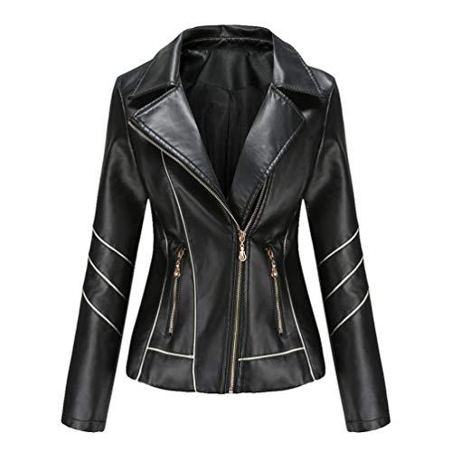 Kaiyei Chaquetas de PU Cuero Sintetico Mujer Slim Fit Fina Cuello Solapa Primavera Otoño Manga Larga Elegante Jacket Cortas Cazadora Biker con Cremalleras Negro M
