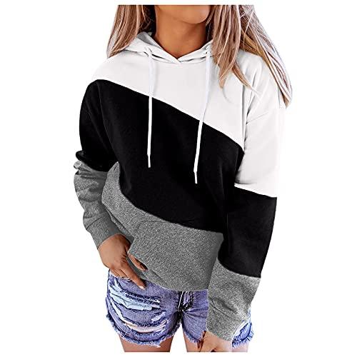 FMYONF Sudadera de mujer de gran tamaño, a rayas de colores de contraste, manga larga, con capucha, color de contraste, para otoño e invierno, Negro , XL