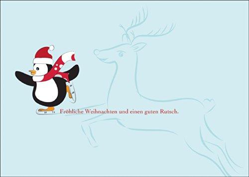 Kartenkaufrausch vrolijke kerstkaart met schaats lopende pinguïn met rendieren op ijs: vrolijk Kerstmis en een goede glij. • Als wenskaart voor Kerstmis, Nieuwjaar voor lievelingsmensen.