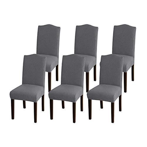 GAEA.TEX - Juego de fundas para sillas de comedor, Gris, 6