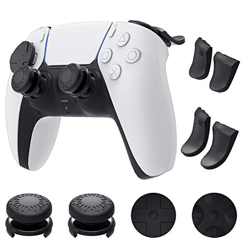 Auarte Kit Accessori Joystick Levette per PS5 Controller Dualsense - 1 Paio Impugnature per Pollice, 2 Coppie Estensori Grilletto L2 R2 Medio e Lungo e 1 Paio Cappucci per Pulsanti Direzionali