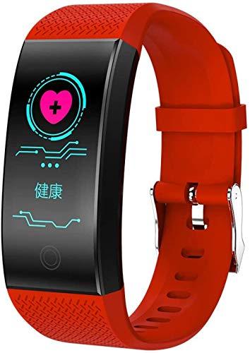 JSL Reloj inteligente con Bluetooth y monitor de ritmo cardíaco, monitor de actividad, reloj inteligente para mujeres, hombres y niños, color rojo