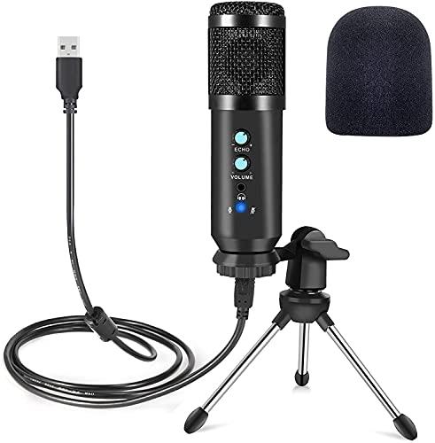 Microfono PC USB a condensatore microfono con supporto treppiede per computer tablet cellulare registrazione di studio audio chat in linea riunioni