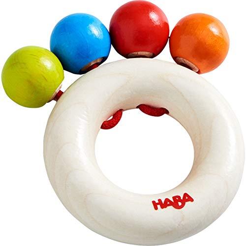 HABA 305580 - Greifling Kugelspaß, Motorikspielzeug aus Holz für Kinder ab 6 Monaten zur Förderung der Feinmotorik und Wahrnehmung, Holz-Kreis und Kugeln zum Greifen und Klappern für Babys