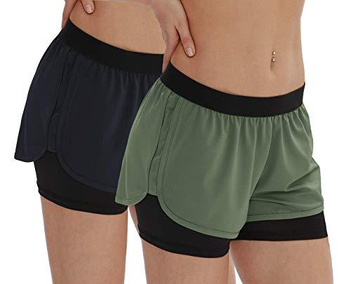 icyzone Pantalones cortos de yoga para mujer – Pantalones cortos deportivos 2 en 1, verde oliva/ azul marino (Olive/navy), M
