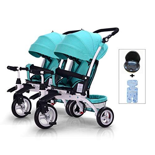 DZWSD Silla de Paseo gemelar Triciclo Desmontable Puede Sentarse y acostarse Carretilla Doble Plegable Ligera con Canasta de Almacenamiento Adecuado Desde el Nacimiento hasta los 5 años