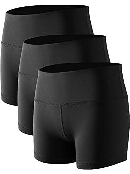 CADMUS Women s Stretch Fitness Running Shorts with Pocket,3 Pack,05,Black,Medium