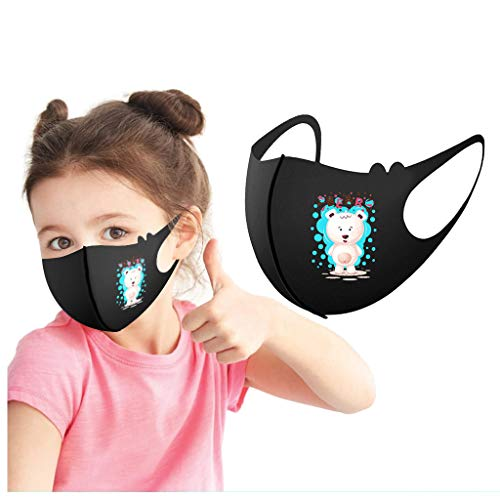 Annly 1PC Kinder Waschbar Einstellbar Gesichtsbedeckung mit Ohrschlaufen Karikatur Schön Niedlich Gedruckt Wiederverwendbar Gesichtsschal Staubdicht Anti-Smog Gesicht Bandana