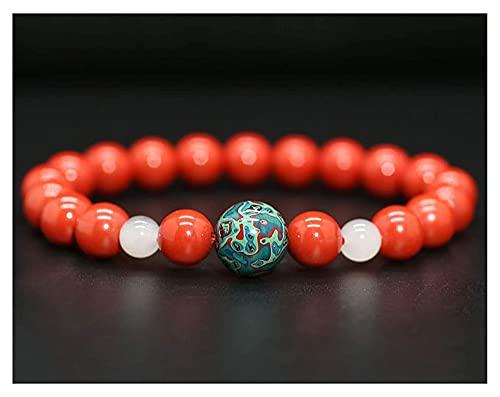 AnimeFiG Feng Shui Cinabar Amuleto Pulsera Prosperidad Talismán Lucky Charms Buddha Bead Pulsera Atraer la Buena Suerte Money Love Bangle Regalo para Mujeres/Hombres, 8mm (Talla : 8mm)