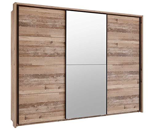 Schwebetürenschrank Kleiderschrank Schlafzimmerschrank | 3-türig | Dekor | Old Style | mit Spiegel | 270x210x58 cm