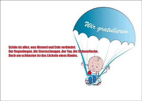 Leuke jongens babykaart/wenskaart voor de geboorte met parachutespringende babyboy: wij feliciteren. • Betoverende welkomstkaart voor de geboorte om te feliciteren.