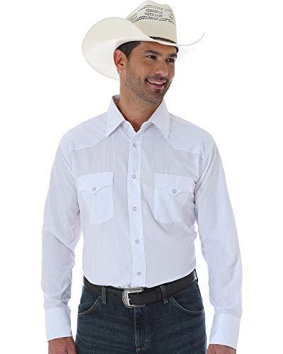 Wrangler Herren Westernhemd Silver Edition Zwei Taschen Langarm Snap Shirt - Wei - Groß