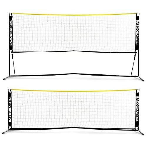 BazookaGoal Fussball-Tennisnetz 300x100cm Komplettset - verstell- und zusammenklappbar - Trainings-Tennisnetz für Kinder und Erwachsene - Ausziehbares und Faltbares Volleyball Netz - Hohe Qualität