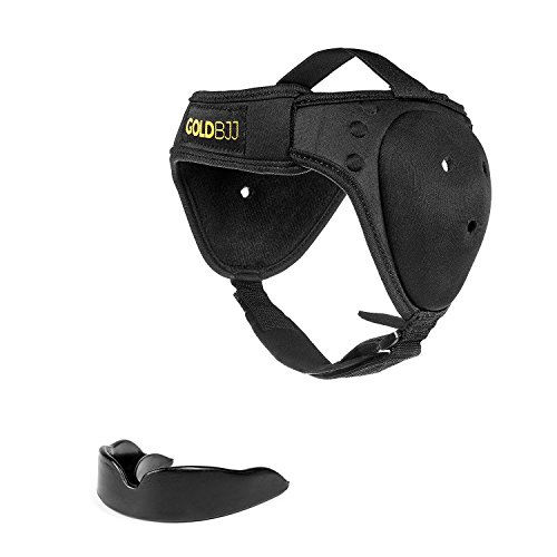 Gold BJJ Headgear for Jiu Jitsu, Wrestling, and MMA - Cauliflower Ear Protection: One Size Fits All, Reinforced Velcro Chin Strap - Bonus Mouthguard Included!