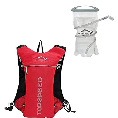 Ciclismo Mochila Mochila Hidratación Deportes Al Aire Libre con 1,5 L Bolsa De Agua para Montar En Bicicleta De Montaña Que Recorre Escalada Rojo