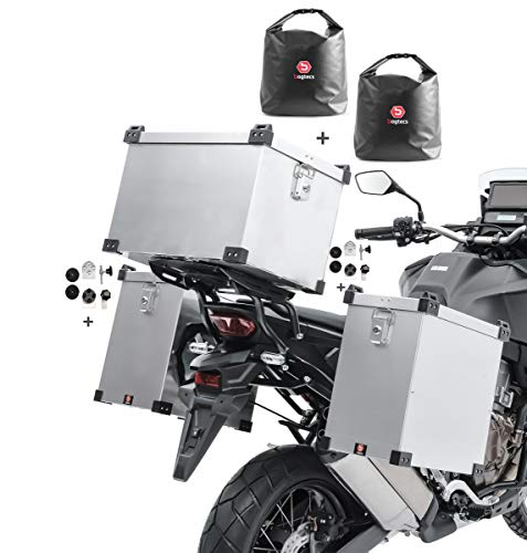 Bagtecs Set aluminium panniers Namib 35-40L + top box 45l + inner bags +fixation kit