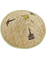 Retro Chinese Bamboe Rotan Visser Hoed Handgemaakte Weave Emmer Hoed Natuurlijke Hol Out Rooster Bamboe Vlecht Cap Vissen Zonnescherm Hoed