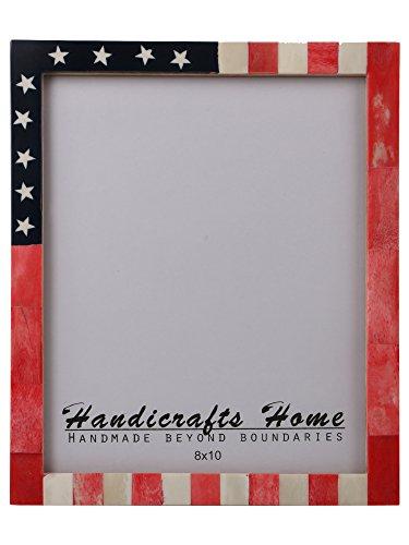 Bilderrahmen mit USA-Flagge, handgefertigt, Knochenrahmen für Fotos in der Größe 20,3 x 25,4 cm