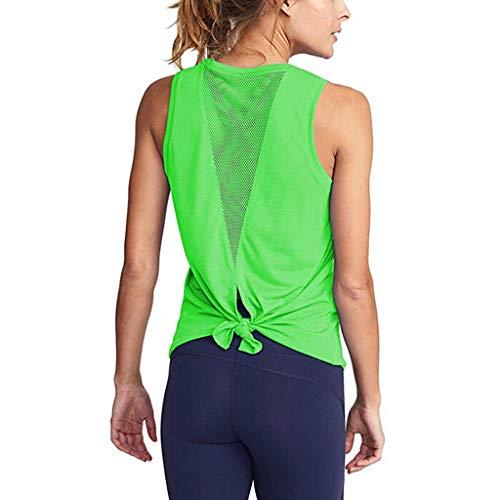 Damen Sport Tops Yoga Gym Shirt Fitness Training Tanktop Piebo Mädchen Frauen Sexy Netz Lace Up Weste Trägershirt Trägertop Casual Bluse Lang T-Shirt Oberteil Lässige Strandtops Activewear Tank Tops