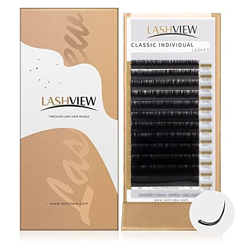LASHVIEW Eyelash Extensions,Individual Lashes, 0.15 Thickness D Curl Mixed Tray(8-15mm),Premium Single &Classic Lases,,Natural Semi Permanent Eyelashes,Mink& Soft Lashes,Application-Friendly