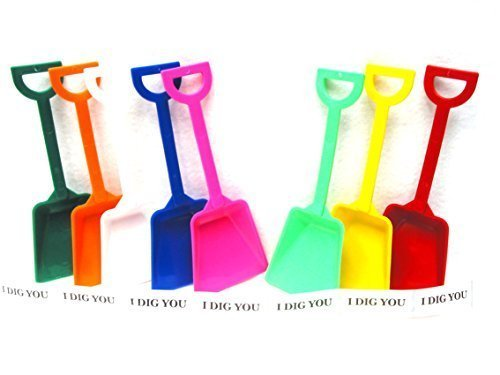 Small Toy Plastic Shovels Mix of Colors, 12 Pack, 7 Inches, 12 I Dig You Stickers by Jean's Plastics