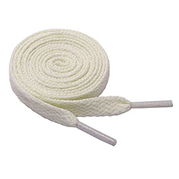 47  Solid Color Elastic Flat Shoelaces for Sneakers Hiking Boots Running Shoes off-white