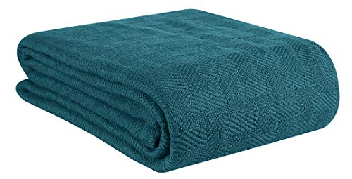 GLAMBURG 100% Cotton Bed Blanket, Breathable Bed Blanket Queen Size, Cotton Thermal Blankets Full - Queen Size, Perfect for Layering Any Bed for All Season - Teal