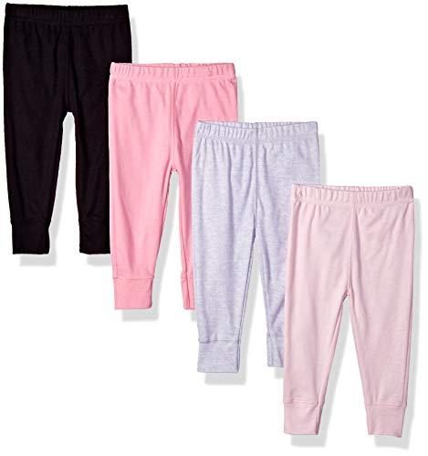 Gerber Baby Girls' 4-Pack Pants, Pink/Black/Gray, Newborn