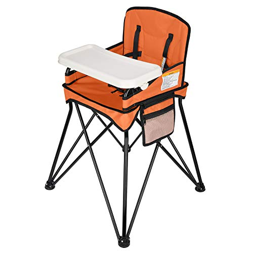 VEEYOO Travel High Chair for Baby - Foldable and Portable with Removable Tray and Carry Bag, for Dining, Camping, Picnic, Indoor/Outdoor, Orange
