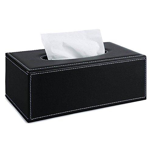 Boîtes à Mouchoirs en Cuir PU Support Distributeur de Mouchoirs pour Maison Voiture - Noir