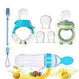 Fruchtsauger Baby Feeder Obst Fütterung Babynahrung Rassel Schnuller Silikon Flasche Löffel für Kleinkinder (Blau)