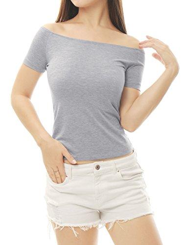 Allegra K Damen Slim Fit Kurzarm Off Shoulder Crop Top Bluse Grau XS