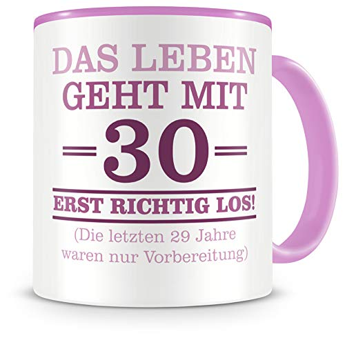 Samunshi® Tasse mit Spruch witzige Geschenke zum 30 Geburtstag Mann Frau Oma Opa Geburtstag Geschenkideen zum 30 Geburtstag (30 Jahre 300ml rosa/rosa)