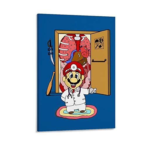 OKJB Póster decorativo de Dr Mario, lienzo para pared, sala de estar, póster, dormitorio, pintura, 50 x 75 cm