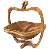 GIVROLDZ Cesta Tradicional 2 en 1 Plegable en Forma de Manzana, Cesta de Almacenamiento con Soporte de bambú Plegable y Tabla de Cortar Cesta de Madera para Frutas,Natural