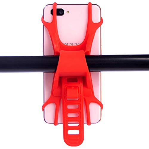 TQmate Soporte Movil Bicicleta, Motocicleta, Soporte para Teléfono de Bicicleta, Soporte Movil Bici de Silicona Compatible con 4.5-7 Pulgadas Smartphones(Rojo)
