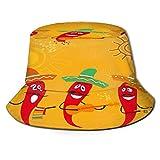 PUIO Sombrero de Pesca,Dibujos Animados de Chile Divertido Mexicano,Senderismo para Hombres y Mujeres al Aire Libre Sombrero de Cubo Sombrero para el...
