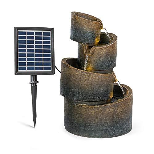 blumfeldt Mantua Fuente Solar en Cascada - Energía Solar, 2,8 Vatios, Batería de Iones de Litio, 5 Horas de Funcionamiento, Interiores/Exteriores, 4 Niveles Cascada, Iluminación LED, Poliresina