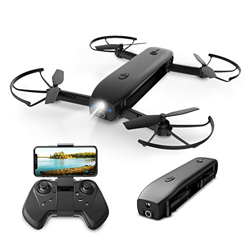 Holy Stone FPV Drone with Camera for Adults 1080P HD, Foldable Pocket Drones with Optical Flow Positioning, Handheld Camera Mode, Power Bank Function, Flashlight Mode, Modular Battery, 8GB Card, HS161
