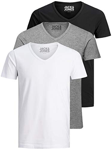 Jack and Jones Herren T-Shirt Basic V-Ausschnitt 3er Pack Einfarbig Slim Fit in Weiß Schwarz Blau Grau (Farb Mix 1, L)